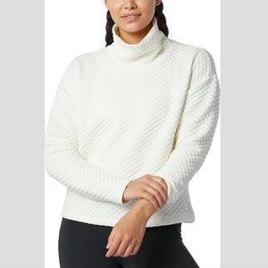 New Balance | White Quilted Cowlneck Sweatshirt
